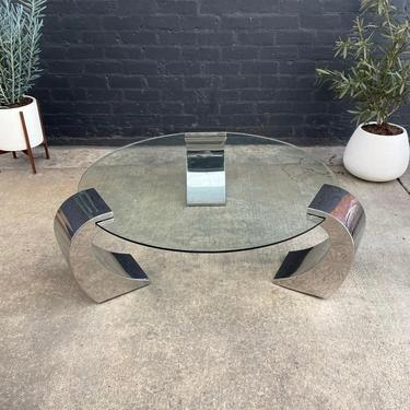 Vintage Polished Chrome & Glass Coffee Table by VintageSupplyLA