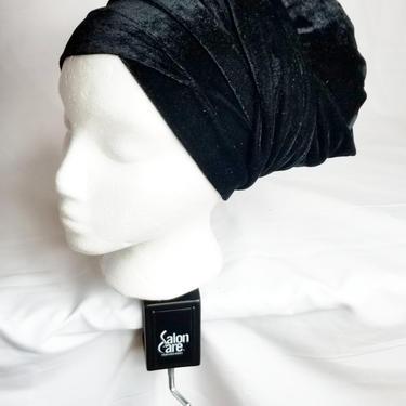 Velvet turban cap with wrap around by GLAMMfashions