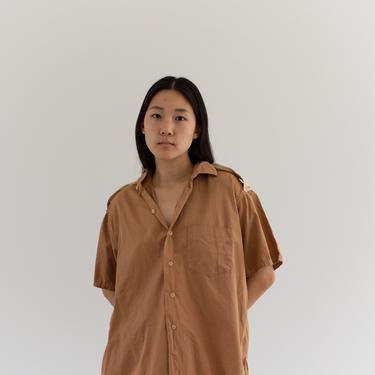 Vintage Overdye Almond Brown Short Sleeve Shirt | 60s Epaulettes Simple Blouse | Cotton Work Shirt | L XL | by RAWSONSTUDIO