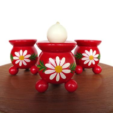 Set Of Three Red Wooden Candle Holders From Sweden, Red Ball Hand Painted Folk Art Candlesticks, Scandinavian Home Decor by HerVintageCrush