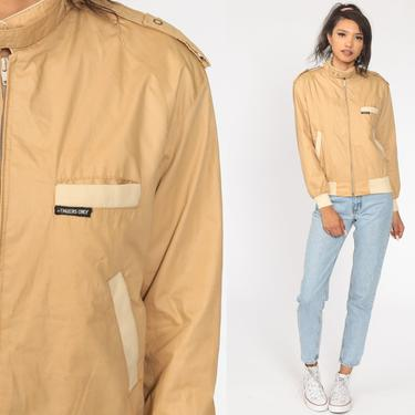 Tan MEMBERS ONLY Jacket 80s Zip Up Windbreaker Bomber Cafe Racer Hipster Shell Light Vintage 1980s Lightweight Extra Small xs by ShopExile