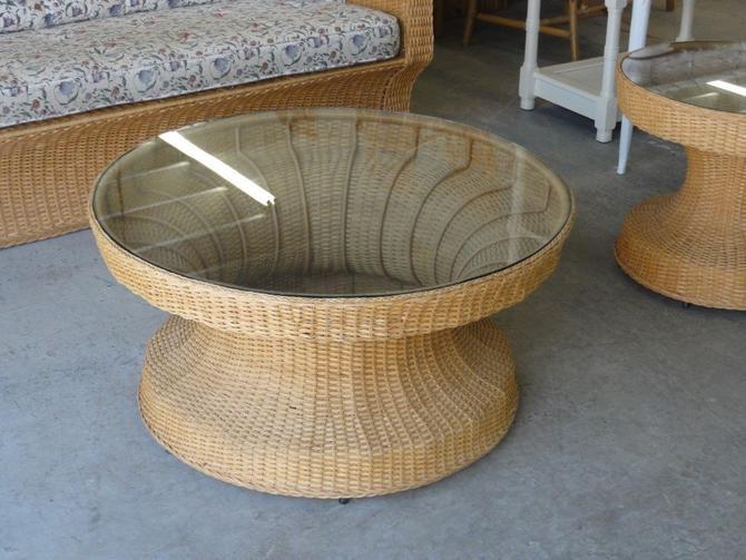 Island Modern Woven Rattan Coffee Table
