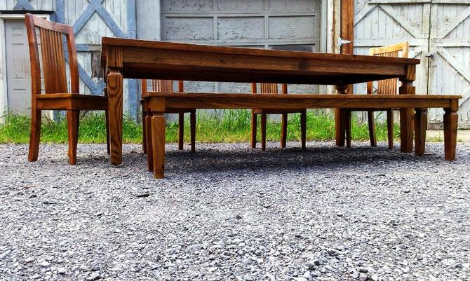 Colonial American Reclaimed Wormy Chestnut Dining Table by BarnWoodFurniture