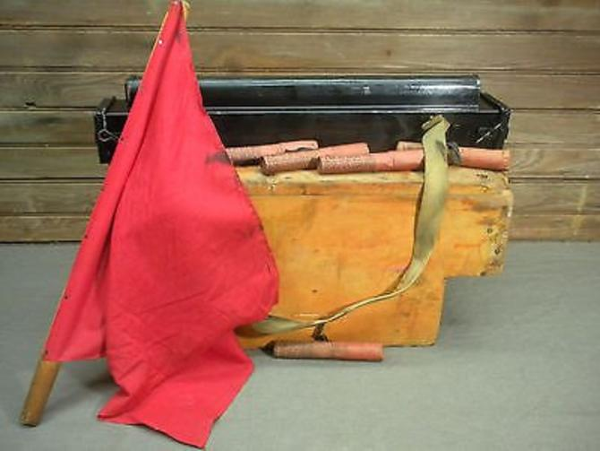 Vintage Railroad Train Conductor lionel Caboose Safety Box Flag Western Transportation Co by LazyCamel
