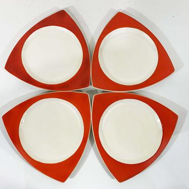 True Vintage Salem Tricorne China Set of Four Dinner Plates Atomic Art Deco Streamline Mandarin Orange Red Mid-Century Triangular Jetsons by CheckEngineVintage