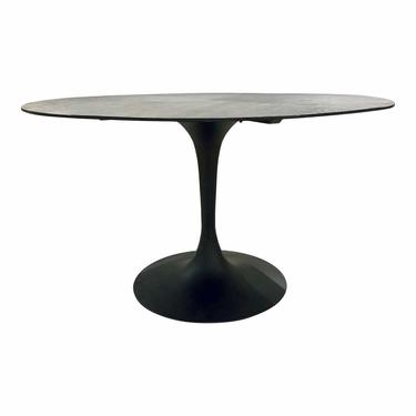 Modern Black Oak and Metal Round Dining Table