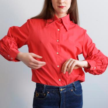 70s balloon sleeves red blouse / size S M by EELT