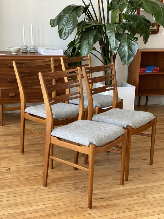 Set of Four Teak and Beech Ladder Back Dining Chairs
