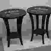 Black Side Tables with Paris Stencil / End Tables / Accent table / french side tables by UniquebyRuth