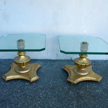 Mid Century Modern Pair of Gold Leaf Glass Top Side Tables 5165
