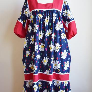 1980s Daisy Print Dress | Vintage Blue and Red Floral Print Tent Dress with Balloon Sleeves | L by wemcgee