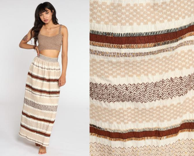 Embroidered Skirt 70s Maxi Skirt Cream Brown Striped Boho Skirt 1970s Long Vintage Hippie Festival Column Bohemian Small xs s by ShopExile