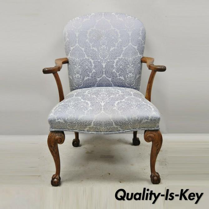 Chippendale Georgian Style Ball & Claw Carved Mahogany Blue Upholstery Arm Chair