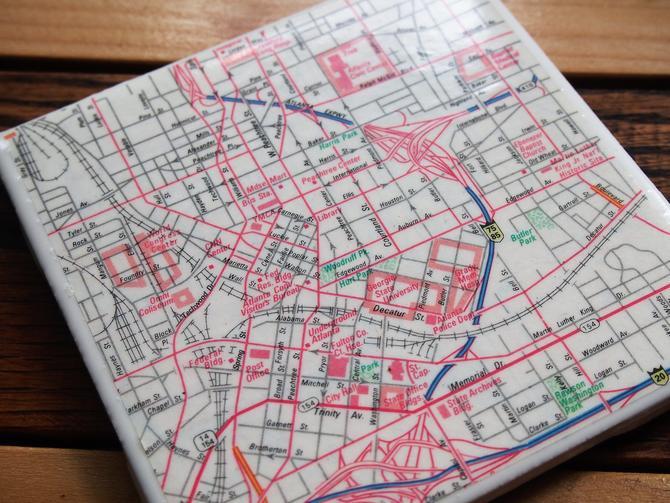 1990 Atlanta Georgia Downtown Handmade Repurposed Vintage Map Coaster - Ceramic Tile - Repurposed 1990s State Farm Atlas - Hotlanta by allmappedout