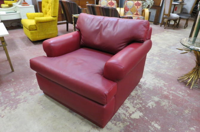Vintage MCM style dark red leather lounge chair