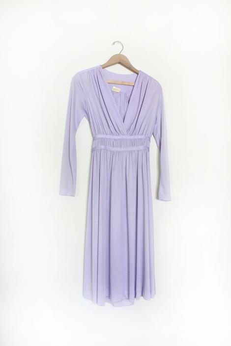 Lilac Satin 80s Grecian Disco Dress by LooseGoods