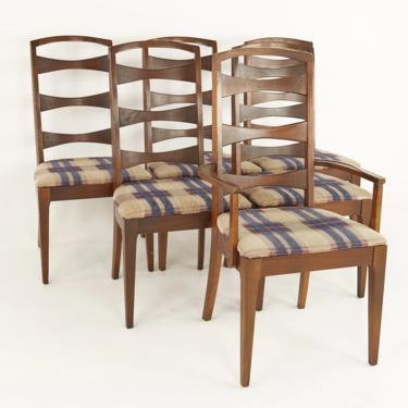 Lenoir House Mid Century Walnut Ladder Back Dining Chairs - Set of 6 - mcm by ModernHill
