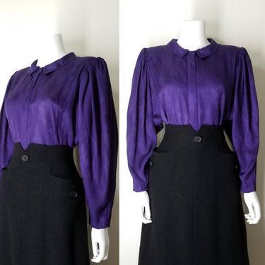 1980s Vintage Wide Sleeve Blouse ~ Purple Jacquard Secretary Blouse Top ~ Womens Medium ~ Leg-o-Mutton Sleeve Blouse Dress Blouse Shirt Top by SoughtClothier