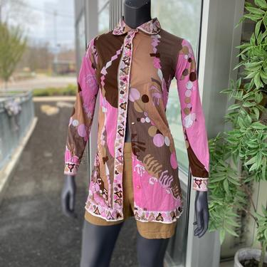 EMILIO PUCCI for Formfit Rogers / Saks Fifth Avenue - Vintage 1960s Sheer Pink and Brown Abstract Print Button-Front Women's Blouse Size XS by AIDSActionCommittee