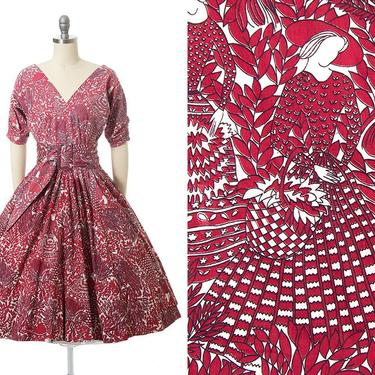 Vintage 1950s Dress   50s Lady Gardening Floral Novelty Print Red Cotton Belted Circle Skirt Day Dress (small) by BirthdayLifeVintage