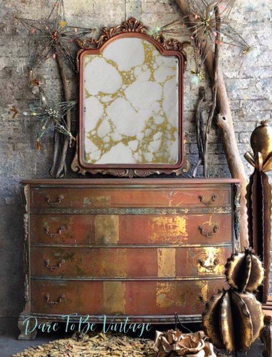 Bohemian Painted Dresser - Vintage Dresser -  Buffet - Rustic Glam Dresser - Painted Dresser - Painted Sideboard Buffet - Metallic Gold Leaf by DareToBeVintage