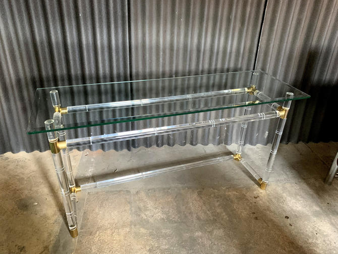 Charles Hollis Jones Lucite and Brass Console Sofa Table by HermansSteelGarage