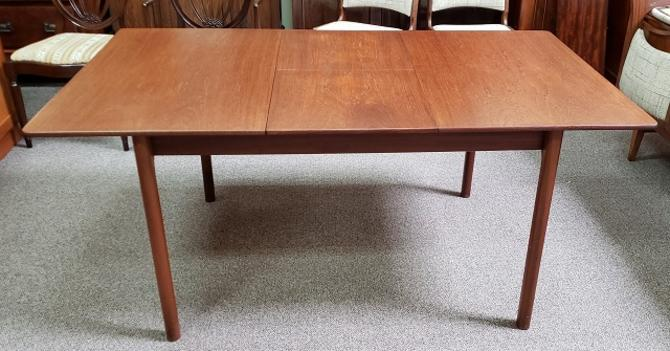 Item #S141 Mid Century Modern Teak Dining Table w/ Butterfly Leaf by McIntosh c.1960s
