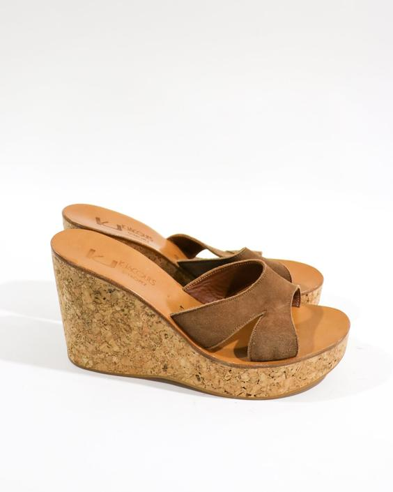 K. Jacques Cork Wedge Sandals, Size 41