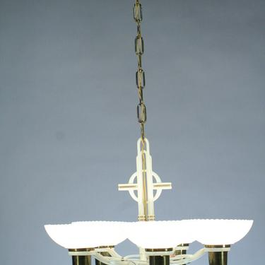 1940s 5 Light with Silver Oxide Bowl Shades #2055 by vintagefilament