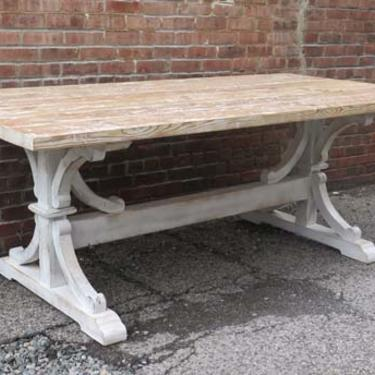 Reclaimed Pine Table with Hand Scraped Painted and Lime Waxed Finish.
