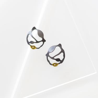 Bit Seaweed Cluster Earrings, Oxidized Silver