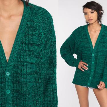 Plain Green Sweater -- 80s Cardigan Button Up Grunge Grandpa Slouchy Boho Vintage 1980s Retro Nerd Bohemian Plain Raglan Medium Large by ShopExile
