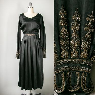 1930s Dress Black Silk Beaded XS by dejavintageboutique