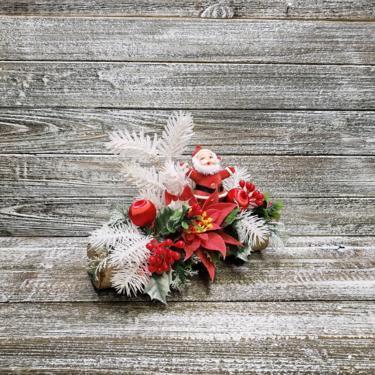 Vintage Flocked Santa Claus Decoration, 1960's Christmas Centerpiece, Santa & Yule Log Table Decor, Poinsettia, Holly, Vintage Holiday by AGoGoVintage