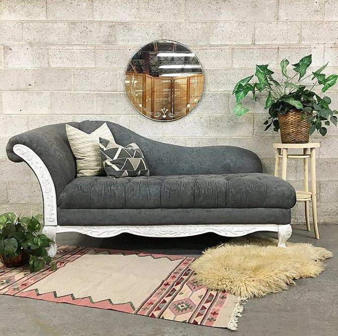 LOCAL PICKUP ONLY Vintage Chaise Lounge Retro 1940s Dark Gray Tufted Daybed with High Curved Back and Carved Wood Details on a White Frame by RetrospectVintage215