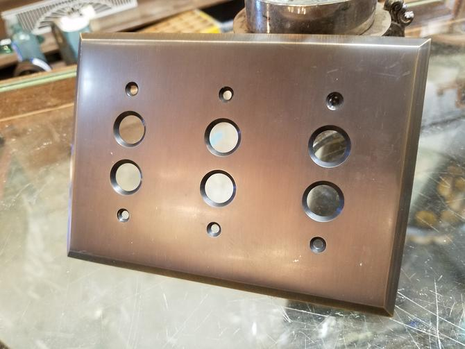 Rejuvenation Lewis Triple Push Button Switchplate in Oil Rubbed Bronze