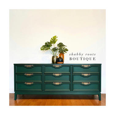 NEW! Emerald Green mid century modern triple dresser. 9 drawer long chest of drawers long ceredenza boho chic - San Francisco Bay Area by ShabbyRootsBoutique