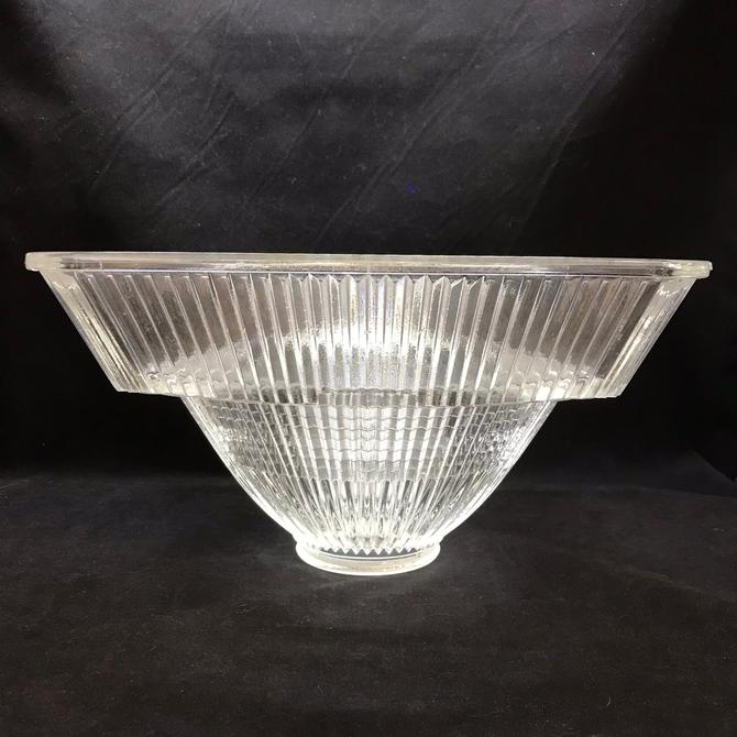 Industrial Architectural Clear Glass Light Globe Holophane #3520 Prismatic Vintage by accokeekpickers