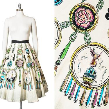 Vintage 1950s Circle Skirt   50s Mexican Sequin Novelty Print Rose Cream Cotton Tourist Souvenir Skirt (xs/small/medium) by BirthdayLifeVintage
