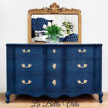 Exquisite French Provincial Console, Vintage, French Country, Hand Painted, Buffet Sideboard by LaVidaBellaDesign