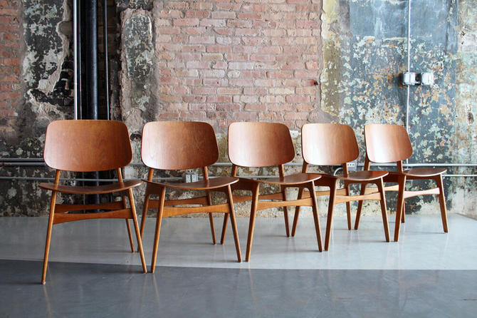 Set of 5 Teak and Oak Dining Chairs by Borge Mogensen