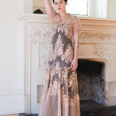 RARE 1930s net lace FOGA label gown antique wedding gown with slip OOAK Art Deco antique gown by DevoreVintage