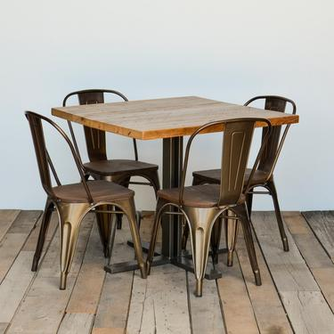 Square Pub table made with reclaimed wood and welded steel 4 prong base.  Custom orders welcome.  Choose size, height and finish. by UrbanWoodGoods