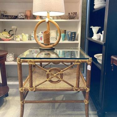 """Glass topped bamboo table with a caned shelf. 26"""" x 26""""x 27"""""""