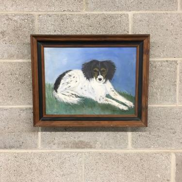 Vintage Painting Retro 1970s Border Collie + Dog Portrait + Acrylic + Framed Wood Canvas + Size 19X15 + Wall Hanging + Home Decor by RetrospectVintage215