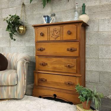 LOCAL PICKUP ONLY Vintage Dresser Retro 1960s Brown Maple Wood + Nautical Carved Details + 4 Drawer Bureau for Bedroom or Clothing Storage by RetrospectVintage215