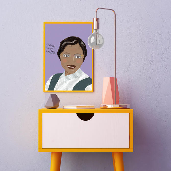 Rosa Parks Colorful Portrait Art Print Ready to Frame Novelty Wall Art Home Decor Office Art by VioletredStudio