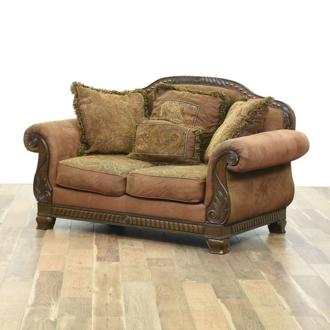 Contemporary Carved Empire Design Overstuffed Loveseat