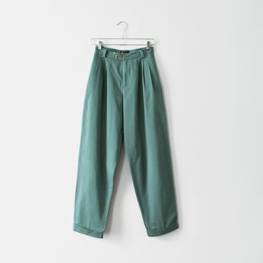 vintage green high waisted trousers, pleated cotton pants, size XS / S by ImprovGoods