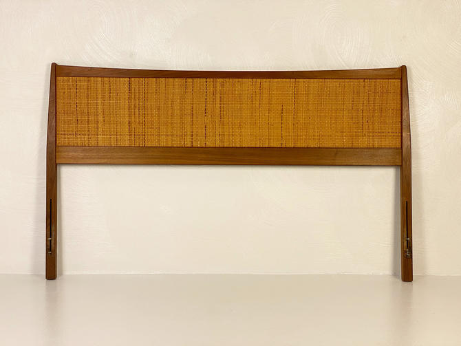 Danish Walnut Framed Caned Queen Headboard, Circa 1970s - Please see notes on shipping before you purchase. by CoolCatVintagePA